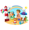 A family at the beach with a lighthouse vector image vector image