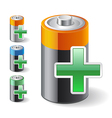 Add Green Plus with Battery Icons vector image vector image