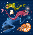 Fish Of The Deep Blue Sea Collection Set 02 vector image vector image