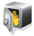 open bank safe with golden coin vector image