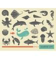 Marine life icons vector image