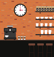 Interior coffee shop brick texture flat design vector image