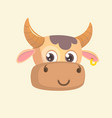 cartoon bright brown smiling cow vector image