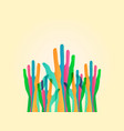 colorful hands up background vector image