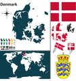 Denmark map world vector image