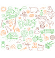 Doodle farming icons set vector image