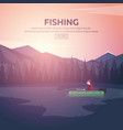fishing on a mountain lake sunset in the vector image
