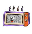 Funny doodle cartoon microvave vector image