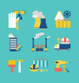 set of flat design style decorative icons vector image