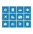 Travel icons on blue background vector image