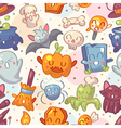 Halloween seamless pattern with cute characters vector image vector image