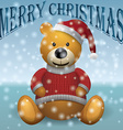 Teddy bear in red sweater red hat with snow text vector image