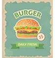 Burger retro poster vector image