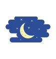 Night sky crescent and stars icon cartoon style vector image