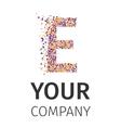 Alphabet particles logotype Letter-E vector image