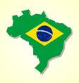 Brazil map and brazilian flag vector image