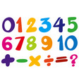 font design for numbers and sign in colors vector image