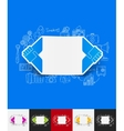 handshake paper sticker with hand drawn elements vector image