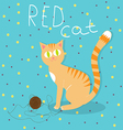 Red cat plays with wool ball vector image