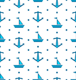 Seamless Pattern with Sail Boats and Anchors vector image