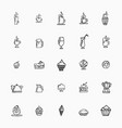 set of hand-drawn icons on food cups of coffee vector image