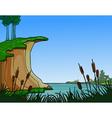 summer landscape river in the reeds vector image
