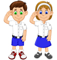 cute two students cartoon respectful vector image