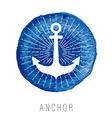 Watercolor nautical logo with an anchor vector image