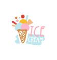 ice cream logo template badge for restaurant bar vector image