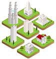 Isometric city buildings collection vector image