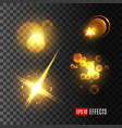 light effect set of golden glitter star sun beam vector image