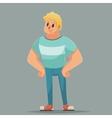 Teen power strong man boy Funny cartoon vector image