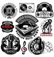 set of retro badges templat for karaoke disco vector image