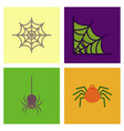 assembly flat icons halloween spider web vector image