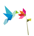 Origami flower and hummingbird on white vector image vector image