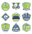 colored vintage tennis emblems set vector image