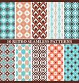 set of 10 retro seamless patterns vector image