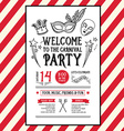 Invitation carnival party flyerTypography and vector image