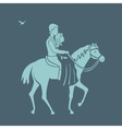 Pair rides a horse vector image