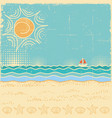 beach scenevintage sea landscape with waves and vector image