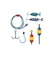 Fishing line Sopinner And Hooks vector image