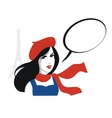 French girl portrait with speech bubble vector image