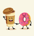 funny cartoon characters coffee and donut vector image