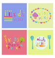 kids organic menu hand drawn banner set vector image