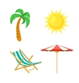 Palm tree sun umbrella deck chair vector image