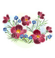 watercolor flowers violets and pansy and leaves on vector image