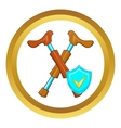 Crossed crutches and sky blue shield icon vector image