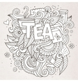 Tea hand lettering and doodles elements background vector image