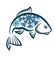 frozen fish design vector image
