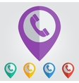 flat pin with phone icon vector image